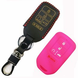 Wholesale honda remote shell - 1x Leather 1x Silicone Key Skin Remote Fob Case Cover Chain Shell Wallet Keyless Jacket for 2015 2016 2017 Honda Civic Accord Pilot CR-V