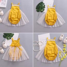 2019 vestido amarillo con tiras Pudcoco Nuevo Estilo Mameluco Amarillo Vestido de Malla Kid Baby Girl Strappy Romper Bodysuit Tutu Vestido Recién Nacido Ropa de Verano Trajes vestido amarillo con tiras baratos