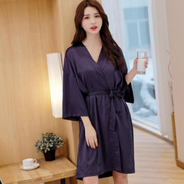 L eastical Satin Sleepwear Sets Sexy Bathrobe Women 2Pcs Nighty Robe Casual  Pajamas Solid Loose Nightwear Lingerie Suit L-XL ab1543973