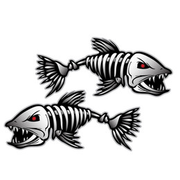 boat stickers Promo Codes - Car Styling Skeleton 2pcs Skeleton Fish Boat Decals Stickers Fishing Boat Graphics Water Sports Rowing Car Window Accessory