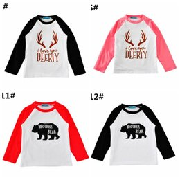 baby boy winter tshirts Promo Codes - ELK Bear Print Boys Girls Cotton T-shirts Baby tshirts Clothing Cartoon Letters Long Sleeve Infant Tshirts Boutique Infant Tees Tops Clothes