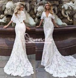 Wholesale fashion pastels - Fashion Vestidos De Nnovia 2018 Mermaid Wedding Dresses With Cape Sheer V Neck full Lace Appliqued Sweep Train Custom Made Bridal Gowns