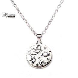 Wholesale Horn Shaped Pendants - whole salemy shape Planet Earth Necklace Zinc Alloy Moon Star Universe Charms Sliver plated Pendant Jewelry Making Women Long Necklace