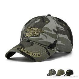 7c97facb78 Nova moda verão homens da marinha selo ajustável camuflagem de algodão lona  boné de beisebol chapéu de sol ao ar livre casual snapback caps