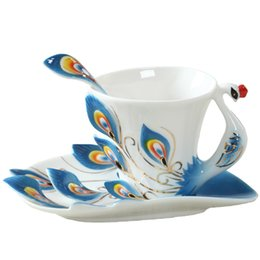 Wholesale ceramic coffee mug sets - 1 Pcs Peacock Coffee Cup Ceramic Creative Mugs Bone China 3d Color Enamel Porcelain Cup With Saucer And Spoon Coffee Tea Sets