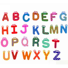 Wholesale Refrigerator Letter Magnets - New Kids Magnet Education Learning Toys Wooden 26 Alphabet Letters Cartoon Words Home Refrigerator Decorations Kids Children Gifts