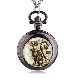 Wholesale Steampunk Lockets - Bronze Vintage Steampunk Cat Locket Necklace Pocket Watch Pendant Gift