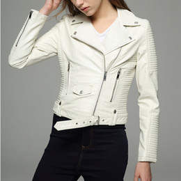 Wholesale Womens Long Black Leather Coats - Long sleeves womens jackets 2018 black beige white leather clothing slim motorcycle leather jacket women outerwear coats winter