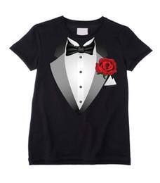 2019 t-shirts blancs pour enfants TUXEDO UNISEX KIDS T-SHIRT - Costume Déguisement Cravate Enfant - Noir ou Blanc t-shirts blancs pour enfants pas cher