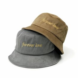 man city hats Promo Codes - Letter Forever Love Embroidery Print Bucket Hat  Fisherman Hat Women c0512c80f