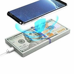 Argentina Qi Fast Wireless Charger Charging Pad Stand Dollars Money Forma para iPhone X iPhone 8 Plus Samsung Galaxy S8 / S8 + / S7 Edge / S7 / S6 Edge cheap qi wireless charger samsung edge Suministro