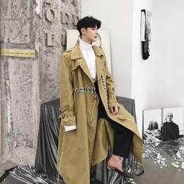 Vêtements de dessus de ruban en Ligne-Mâle Punk Gothique Lâche Pardessus Hommes Casual Trench-Coat Ruban Spliced Long Cardigan Coupe-Vent Veste Harajuku Survêtement