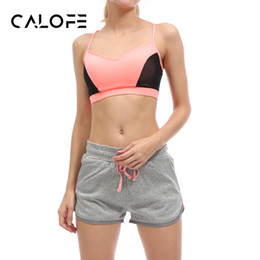 Wholesale Tennis Suits Girls - Wholesale- CALOFE Outdoor Women Yoga Sets Bra Shorts Fitness Sets Patchwork Gym Sports Running Tennis Girls Leggings Tops Sport Suit