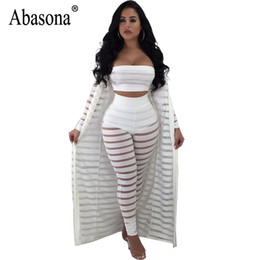 3ef4747a9c Abasona Sexy Jumpsuit Women Strapless Overalls Autumn Long Sleeve Jumpsuits  Rompers Black Party Sheer Mesh Pant 3 Piece Set
