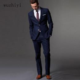 de1111a1e1d0 vestiti personalizzati su misura blu Sconti wuzhiyi Custom Made Dark Blue  Suit da uomo Slim Fit