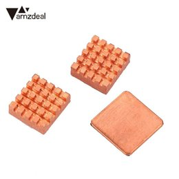 Wholesale Raspberry Pi Heat Sink - amzdeal 2017 New 3PCS Pure Copper Slice Heat Sinks Cooling Fin Kit For Raspberry PI 3 Model B