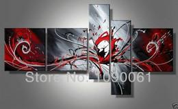 dipinti astratti bianchi neri rossi Sconti Dipinto a mano astratta moderna nero bianco e rosso dipinti su tela 5 pannello Art Picture decorazione casa senza set incorniciato