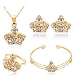Femmes couronne bijoux ensemble strass incrusté collier bracelet ouvert anneau boucles d'oreilles ? partir de fabricateur