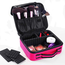 venta al por mayor caja de almacenamiento organizador de maquillaje portátil / caso 2 capa con hombro ajustable para pincel conjunto belleza cosméticos herramienta desde fabricantes