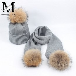 Women Scarf And Hat Set Winter Fashion Warm Woolen Knitted Scarf And Cap  Ladies Real Big Raccoon Fur Pom Pom Hats Scarves 21436cd2e93f