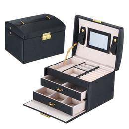 Caixa de jóias de maquiagem on-line-Caixa de Coleta de Jóias princesa Crocodilo Grão PU Caixas De Armazenamento De Maquiagem De Couro Grande Capacidade de Cor Pura Moda 43sp bb
