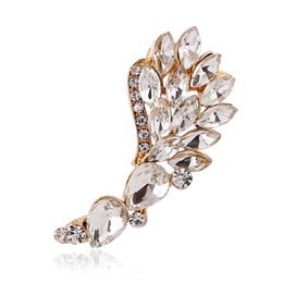 Wholesale wing earring cuff - Angel Wings crystal Clip Earrings Left Right Silver Gold Earring Clip Ear Cuff Earring Jewelry FY025