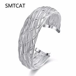 2019 bracelete da jóia da malha SMTCAT Top Quality Silver bangle manguito Carimbado 925 malha de jóias grandes largas pulseiras para mulheres indianas pulseira feminina desconto bracelete da jóia da malha