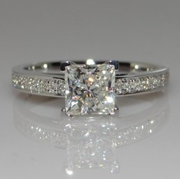 Wholesale Princess Cut Cz Rings - Simple Fashion Jewelry 925 Sterling Silver Princess Cut White Topaz CZ Diamond square Gemstones Wish Women Wedding Band Ring Gift choucong