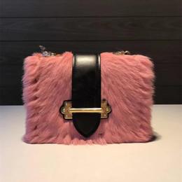 Wholesale real fur handbags - Fashion ladies women handbag real fur cahier rivet Calfskin genuine leather crossbody bag handbags top quality shoulder bags bolsa feminina