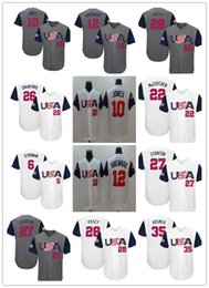 282577489db Team Usa 2017 World Baseball Classic Marcus Stroman Adam Jones Nolan  Arenado Giancarlo Stanton Buster Posey Eric Hosmer Jerseys White Gray