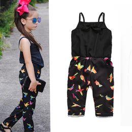 Wholesale Bird Print Chiffon - 2018 Summer Fashion Girl's Jumpsuit Bow Chiffon Birds Print Suspender Trousers Pant Kids clothing Wholesale