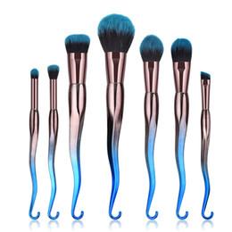 Wholesale Hook Kits - 7 Pcs Makeup Brush Set Cosmetics Foundation Blending Blush Makeup Tool Hook Brush Powder Eyeshadow Cosmetic Set 3001222