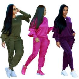 Mono de manga larga discoteca online-trajes de dos piezas para mujer ropa para mujer mono para mujer chándal de manga larga con volantes chándal casual chándal con cuello redondo plisado