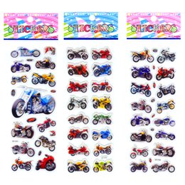 Wholesale motorbike stickers - 100PCS Motorcycle Motorbike Auto Racing Scrapbooking Kawaii Emoji Reward Kids Toys Bubble Puffy Stickers Factory Direct Sales