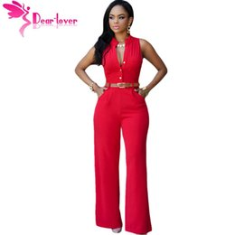 Wholesale Maxi Pants - DearLover Fashion Big Women Sleeveless Maxi Overalls Belted Wide Leg Jumpsuit 7 Colors S-2XL Plus Size macacao long pant LC60932