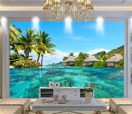 Wholesale Vintage Beach Painting - Custom 3D Photo Wallpaper HD Maldives Sea Beach Natural Landscape Photography Living Room TV Background Wall Painting Wall Mural
