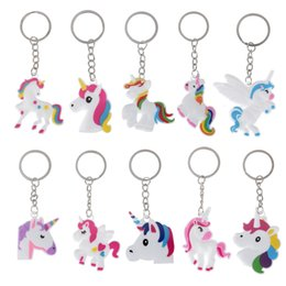 Wholesale Wholesale Cellphone Charms - Unicorn Keychain Keyring Cellphone Charms Handbag Pendant Kids Gift Toys Phone Decoration Accessory Horse Key Ring XL-569