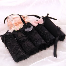 Wholesale Nice Briefs - Sexy Lace Net Black Underwear Women Briefs Nice Flower Bow Plus Size Female Lingerie