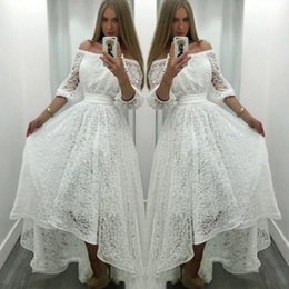 Wholesale High Low Cheap Elegant Dress - Elegant White Lace Prom Dresses 2018 Off The Shoulder Half Sleeves Evening Gowns High Low Formal Party Dress Cheap Bridal Vestidos