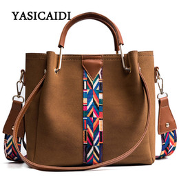 Wholesale Colorful Buckets - Colorful Strap Bucket Crossbody Bag High Quality Pu Leather Tote Bag Women Handbags Bags Famous Brand Designer Lady Bag