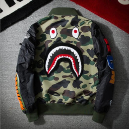 Wholesale Services Animals - ow man women Jacket Men WGM Embroidery Shark MA1 Air Force Flight Jacket Male Baseball Service US Air Force Pilot Jacket man clothing