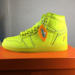 Wholesale Lemon Fabric - 2018 NEW ARRIVEL BASKETBALL SHOES AIR RETRO 1 HI OG G8RD CYBER HIGH CUT BOOTS BE LIKE MIKE GATORADE LEMON YELLOW LIGHTNING SNEAKERS