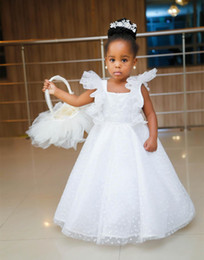 Wholesale Christening Baby Gifts - 2018 White Flower Girl Dresses Baby Birthday Gifts Lace Applique Kids Square Neck Trumpet Sleeve Formal Wedding Party Gown Pageant Dress