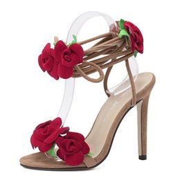 Wholesale leather flower rings - 2018 New sexy red rose flower foot ring is worn with women's shoes with high heels and fine lines to keep up with the new women's sandals241