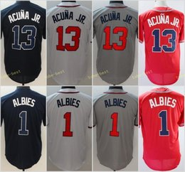Wholesale red base - Men's Ronald Acuña Jr Jersey 13 Atlanta Acuna JR 1 Ozzie Albies Baseball Jerseys White Red Gray Navy Cool Base Stitched