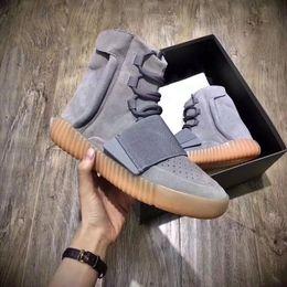 Wholesale hot glow - 2018 Sply Hot Sale 750 Boost Light Grey Glow In The Dark Triple Black Kanye 750 Skateboard Shoes Sneakeheads Shoe High Shoe