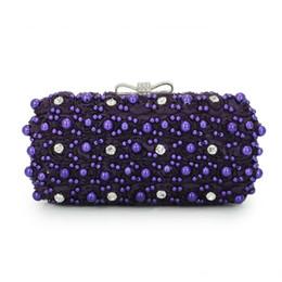 Monederos de diamante morado online-Nuevas mujeres elegantes púrpura noche bolsos de cadena de lujo de cristal bolsos de embrague manejar Diamond party monedero damas bolsas de boda (C1004)