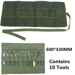 Зеленый садовый мешок онлайн-Army Green Japanese Bonsai Storage Package Roll Bag Garden Repair Tool Pliers Scissors Canvas Tool Set Case Storage Bags