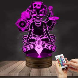 Wholesale Decorative Music Light - 1Piece Tattoo DJ Music Skeleton Microphone Silhouette Night Lamps DJ Skull 3D Bulbing Lights Rock Music Decorative Lighting