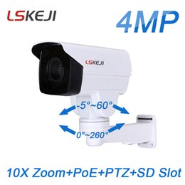 Wholesale cctv camera optical zoom - 4 Megapixle mini PTZ IP 4MP PoE 10X optical zoom IR 80M outdoor SD Card slot onvif P2P Network cctv security Camera